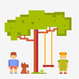 Pixel people girl and boy with a dog Royalty Free Stock Images
