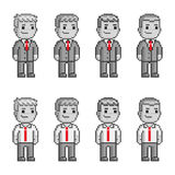 Pixel people in red ties Royalty Free Stock Photography