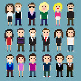 Pixel People. Set of pixel art people icons, vector illustration Stock Illustration