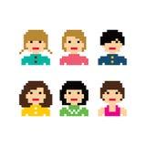 Pixel people woman avatar set Royalty Free Stock Photo