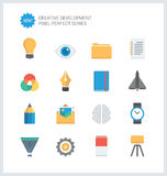 Pixel perfect creative development flat icons Stock Photos