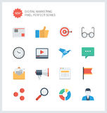 Pixel perfect digital marketing flat icons Stock Photos