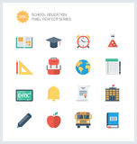 Pixel perfect education items flat icons set Royalty Free Stock Photos