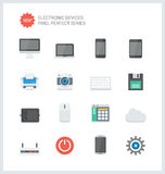 Pixel perfect electronic devices flat icons. Pixel perfect flat icons set of computer technology and electronics devices, mobile phone communication and digital Stock Images