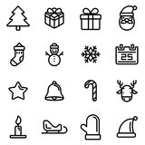 16 pixel perfect line icons set Christmas theme, vector design. 16 pixel perfect line icons set Christmas theme, illustration vector design Stock Image