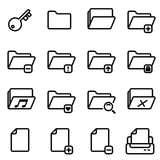 16 pixel perfect line icons set. Document and folder vector design Stock Images