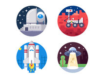 Pixel perfect space icons set Stock Image