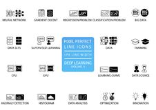 Pixel perfect thin line icons and symbols for deep learning. Pixel perfect thin line icons and symbols for deep learning like neural network, big data, data vector illustration