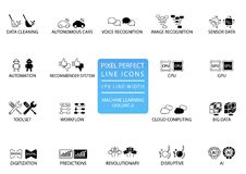 Pixel perfect thin line icons and symbols for machine learning / deep learning / artificial intelligence.  Stock Image