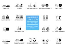 Pixel perfect thin line icons and symbols of various industries / business sectors like public services, consumer goods, defence, Royalty Free Stock Photos