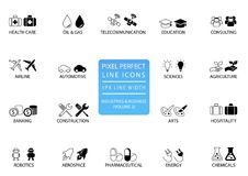 Pixel perfect thin line icons and symbols of various industries / business sectors like telecommunications, chemicals, aerospace, Royalty Free Stock Photo