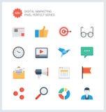 Pixel perfecte digitale marketing vlakke pictogrammen Stock Foto's