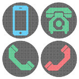 Pixel phone icons. Royalty Free Stock Photography