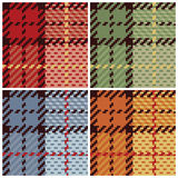 Pixel Plaid in Four Colorways. Four pixel plaid patterns in classic colors. 6 seamless repeat Stock Images