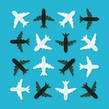 Pixel Planes. Pixel art 8-bit planes turned in different angles Stock Illustration