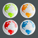 Pixel Planet Earth Icons Stock Image