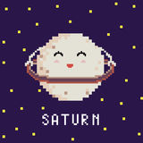 Pixel planet saturn. Pixel art 8 bit cartoon funny illustration of pixel 8 bit planet with lettering Saturn and hoop in space background with stars vector eps 10 Stock Illustration