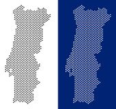 Dotted Portugal Map. Pixel Portugal map. Vector geographic map on white and blue backgrounds. Vector mosaic of Portugal map created of round blots stock illustration