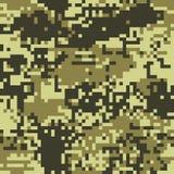 Pixel protettivo di colorazione di marrone del cammuffamento del modello senza cuciture illustrazione di stock