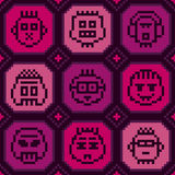 Pixel punk seamless background. Cool seamless background with pixelated punk characters Royalty Free Stock Images