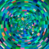 Pixel radiant design, abstract background. Pixel radiant circles, diamond like geometric shapes and forms in green, blue, pink and yellow colors. Abstract design Stock Photos