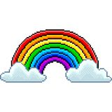 Pixel rainbow with clouds isolated vector. Pixel rainbow with clouds detailed isolated vector vector illustration