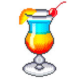 Pixel rainbow cocktail  vector Royalty Free Stock Image