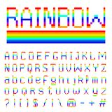 Pixel rainbow font. 8-bit symbols. Digital video game style. letters and numbers. Vintage retro typeface abc. Error. Computer Video. Futuristic style. Vector royalty free illustration