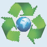 Pixel recycling symbol Stock Photo