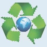 Pixel recyclingssymbool Stock Foto
