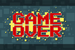 Pixel red game over screen on yellow background Royalty Free Stock Images