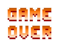 Pixel retro computer game over text design vector illustration. Pixel retro font video computer game design 8 bit letters and numbers electronic futuristic style stock illustration