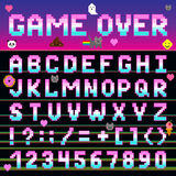 Pixel retro font computer game design 8-16 bit letters and numbers electronic futuristic vector abc typeface digital. Alphabet. Website modern vintage creative Royalty Free Stock Photo