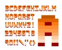 Pixel retro font computer game design vector illustration Stock Photography