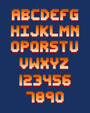 Pixel retro font computer game design vector illustration. Pixel retro font video computer game design 8 bit letters and numbers electronic futuristic style vector illustration