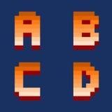 Pixel retro font computer game design vector illustration Stock Photos