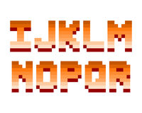 Pixel retro font computer game design vector illustration. Pixel retro font video computer game design 8 bit letters and numbers electronic futuristic style Stock Photography