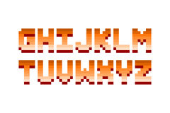 Pixel retro font computer game design vector illustration. Pixel retro font video computer game design 8 bit letters and numbers electronic futuristic style Royalty Free Stock Photography