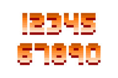Pixel retro font computer game design vector illustration. Pixel retro font video computer game design 8 bit letters and numbers electronic futuristic style Stock Image