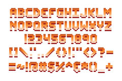 Pixel retro font computer game design vector illustration Stock Photos