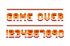 Pixel retro font computer game numbers design vector illustration Royalty Free Stock Images
