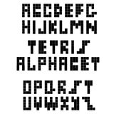 Pixel retro font. Constructive black alphabet. For a white background Royalty Free Stock Images
