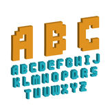 Pixel retro font video computer game design 8 bit letters electronic futuristic style vector abc typeface digital. Pixel retro font video computer game design 8 royalty free illustration