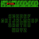 Pixel retro font video computer game design 8 bit letters electronic futuristic style vector abc typeface digital. Pixel retro font video computer game design 8 Royalty Free Stock Photos