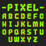 Pixel retro font video computer game design 8 bit letters electronic futuristic style vector abc typeface digital. Pixel retro font video computer game design 8 Royalty Free Stock Image