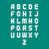 Pixel retro font video computer game design 8 bit letters electronic futuristic style vector abc typeface digital. Pixel retro font video computer game design 8 Stock Photo
