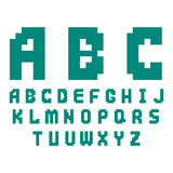 Pixel retro font video computer game design 8 bit letters electronic futuristic style vector abc typeface digital. Pixel retro font video computer game design 8 Stock Image