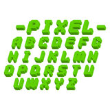 Pixel retro font video computer game design 8 bit letters electronic futuristic style vector abc typeface digital. Pixel retro font video computer game design 8 stock illustration