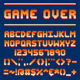 Pixel retro font video computer game design 8 bit letters and numbers electronic futuristic style and vector abc. Typeface digital creative alphabet. Website royalty free illustration