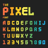Pixel retro font video computer game design 8 bit letters numbers electronic futuristic style vector abc typeface. Pixel retro font video computer game design 8 Royalty Free Stock Images